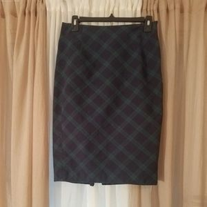 High Waist Plaid Pencil Skirt